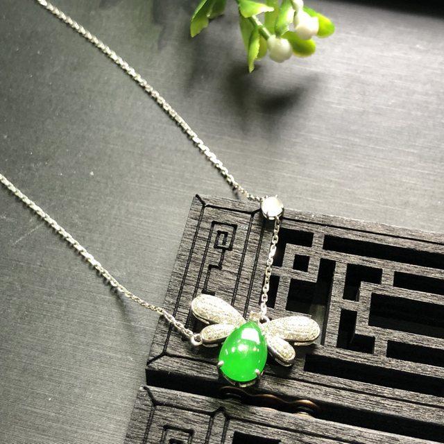 18K白金南非真钻镶嵌 冰种阳绿青廷翡翠项链