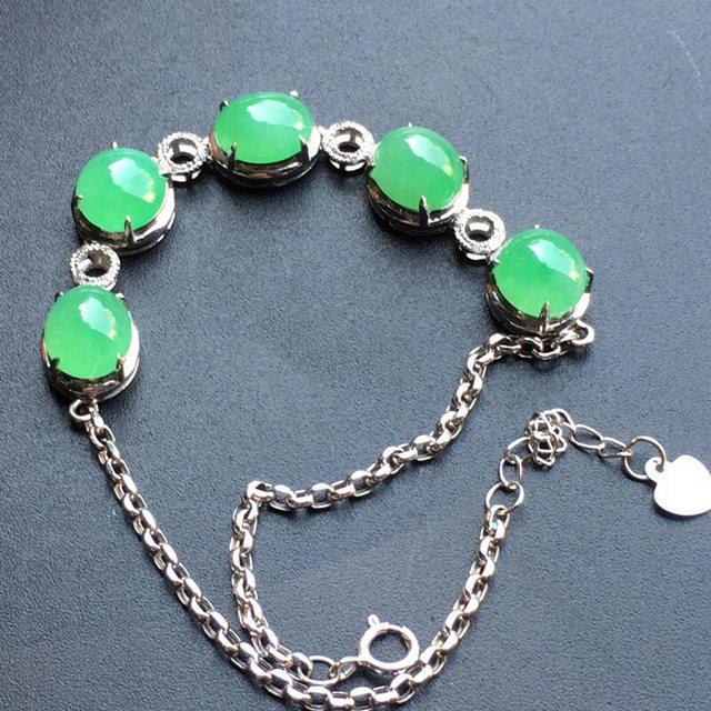冰种阳绿蛋面翡翠手链大小 7.6*6.1*3mm