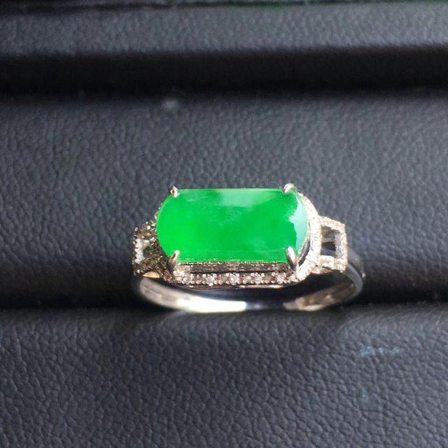 冰种阳绿马鞍 翡翠戒指大小10.2*6*3mm