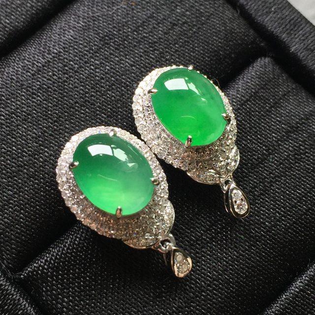 冰种阳绿 翡翠耳钉 9.2*7*3.8