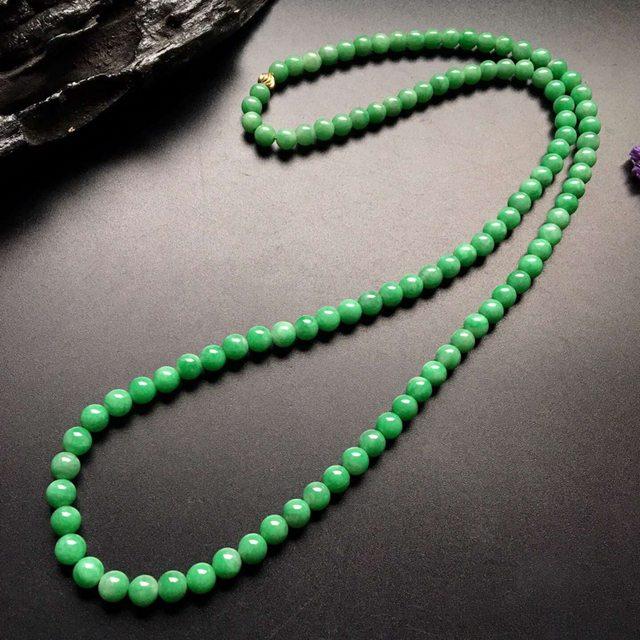 糯冰满绿转运珠翡翠项链取大 8-8mm