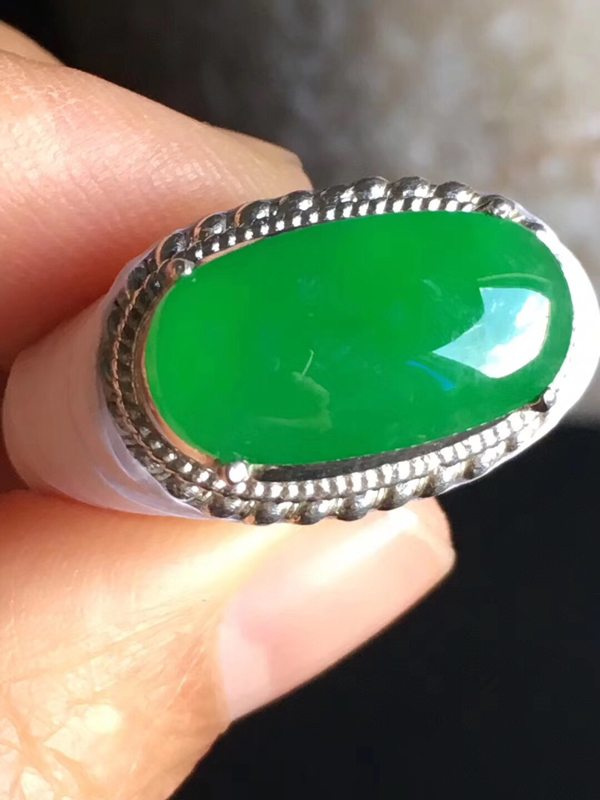 17.2-9.2-3.8寸老坑冰种正阳绿色 翡翠戒指