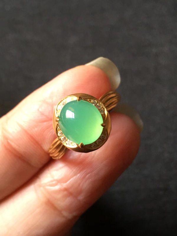 高冰种纯美木那甜阳绿 缅甸天然翡翠戒指