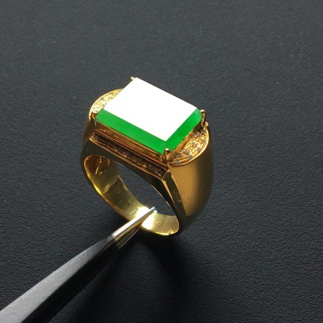 13.8-10-3.5寸冰种阳绿 翡翠戒指