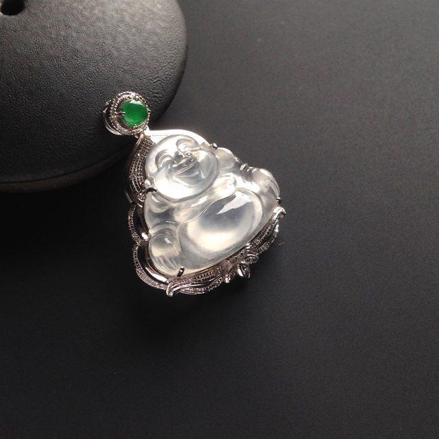 冰种荧光翡翠佛公 佛翡翠吊坠 18K白金配真钻镶嵌 裸石16-18-4毫米 连金24-21-9毫米