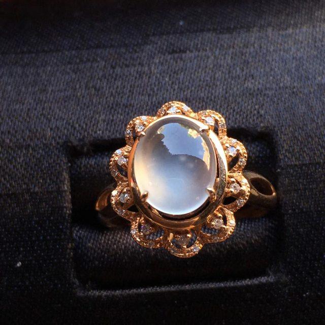 冰种起光花型 缅甸天然翡翠戒指大小9.2*7.2*4mm