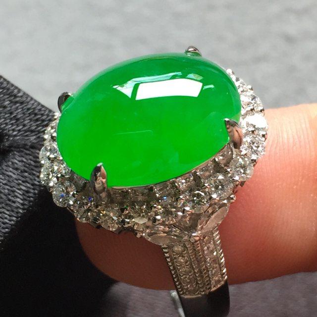 14.2*11.5*5寸冰阳绿 缅甸天然翡翠戒指