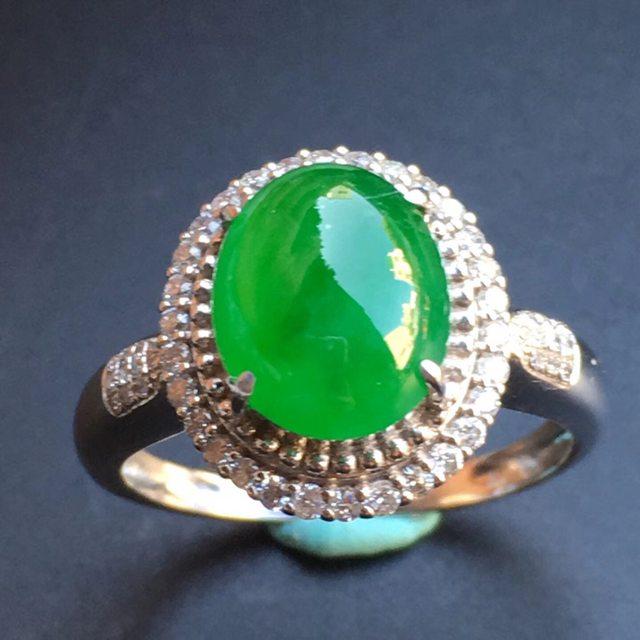 冰种阳绿 缅甸天然翡翠戒指大小10*8.2*5mm