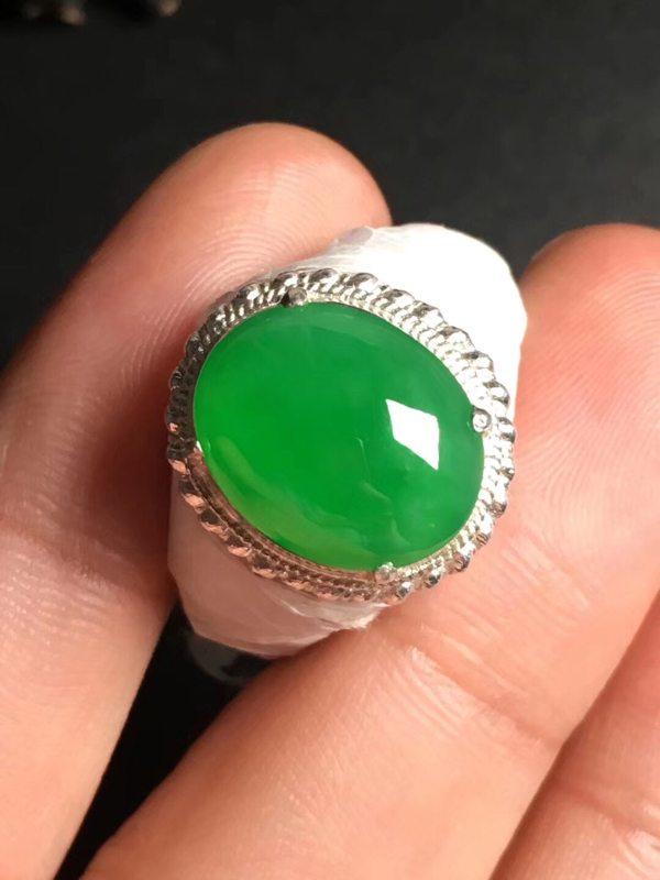 冰阳绿 缅甸天然翡翠戒指13.8-11.1-4毫米