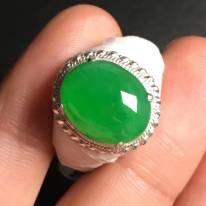 冰陽綠 緬甸天然翡翠戒指13.8-11.1-4毫米