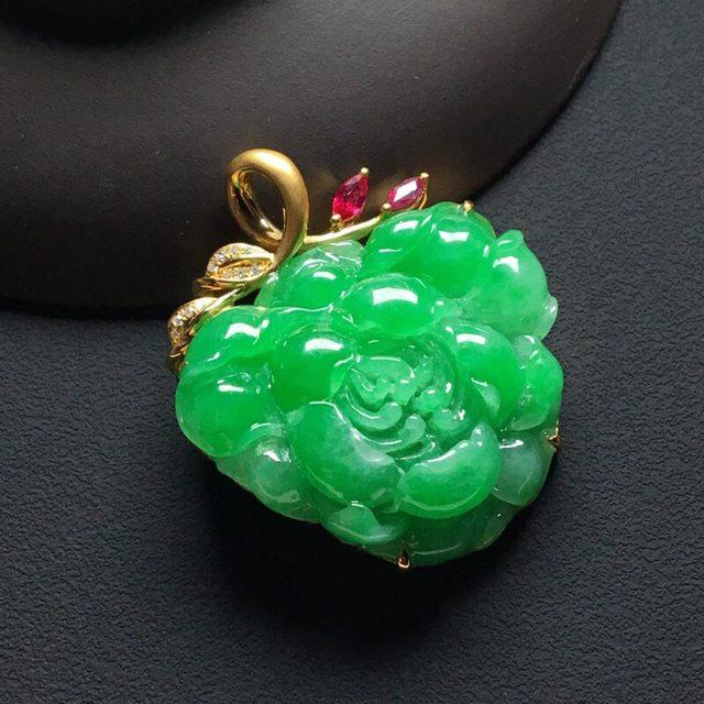 巧雕阳绿花开富贵 翡翠吊坠 裸石24-28-5.5毫米