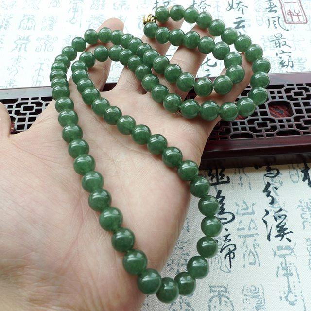 A货翡翠 好种满绿翡翠圆珠项链图7