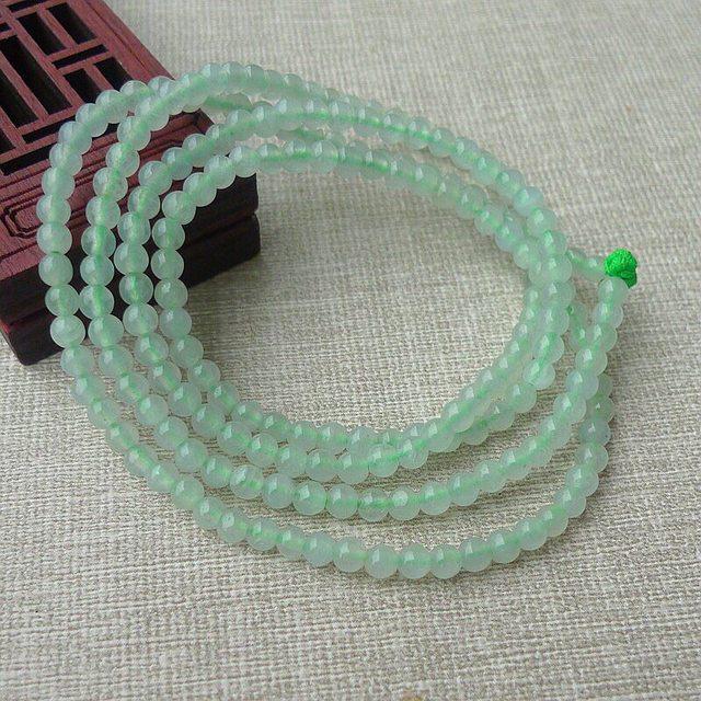 冰透带底色3.6mm圆珠翡翠项链