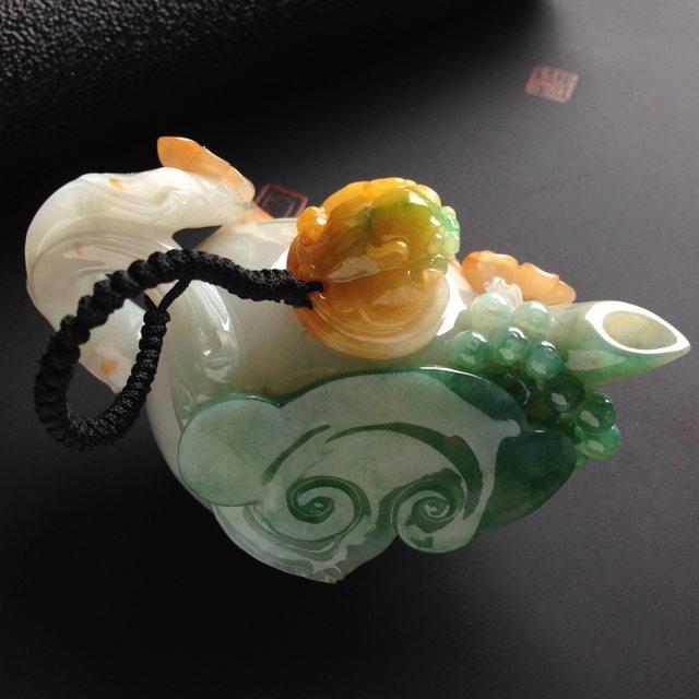 瑞麗工陳柯柯作品 冰種黃加綠翡翠茶壺