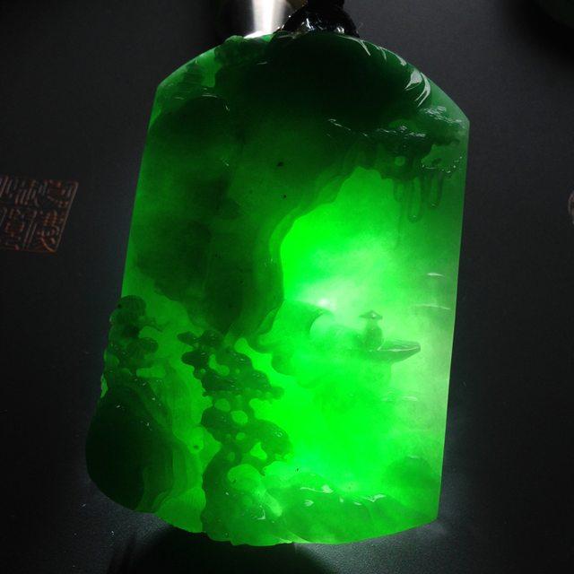 冰种阳绿淡泊人生翡翠吊坠 尺寸72-48-11毫米图8