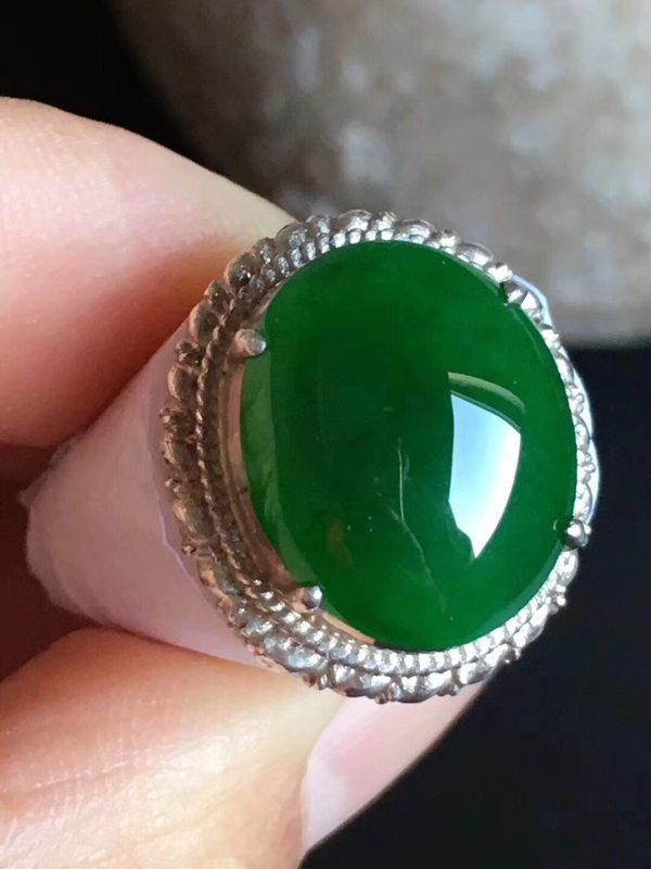 15.5-12.8-5mm老坑冰种 缅甸天然翡翠戒指