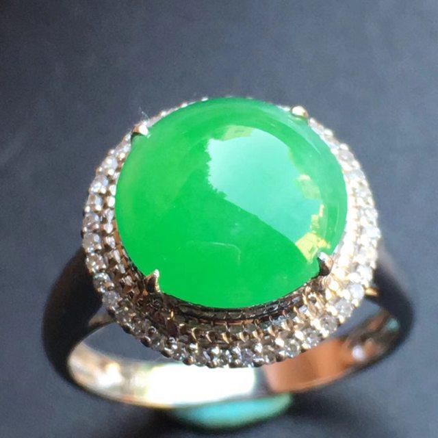 冰种阳绿 缅甸天然翡翠戒指大小10.3*10.1*5mm