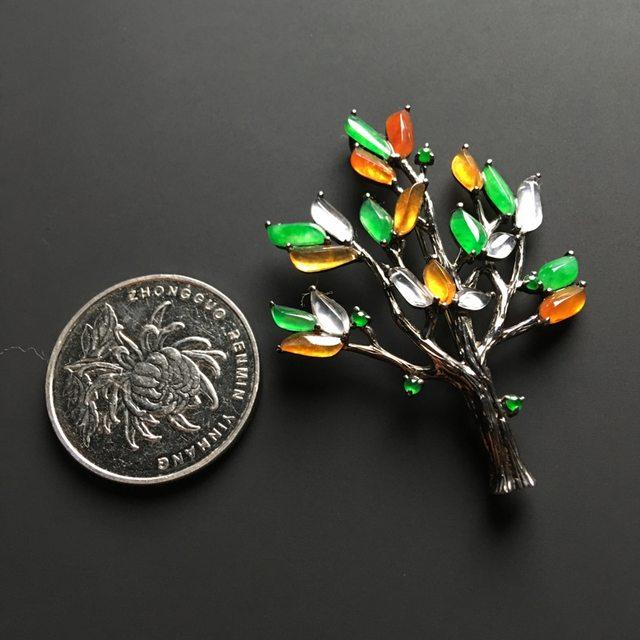 三彩圣诞树 翡翠胸针 整体尺寸49-36-7毫米图5