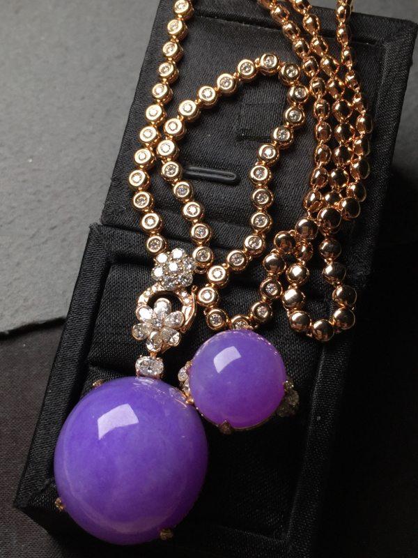 冰帝王紫鸽子蛋翡翠项链加戒指 吊坠26.5*24.8*16