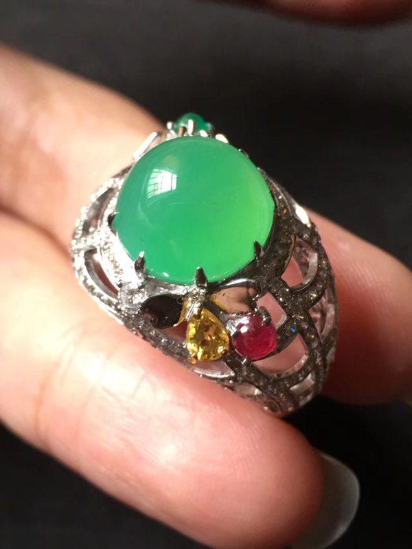 冰种木那甜阳绿 缅甸天然翡翠戒指