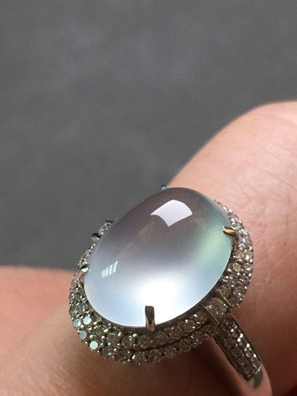 高冰晴水 缅甸天然翡翠18k金镶嵌钻石戒指