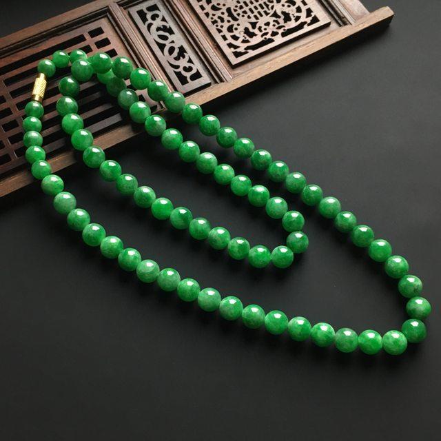 冰种满绿翡翠佛珠项链 直径8毫米