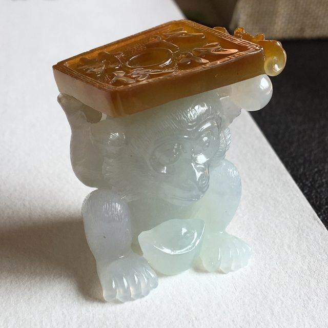 冰种无色 代代封侯摆件 尺寸 41.5x33x28 毫米