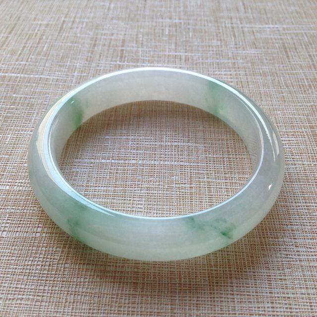冰种飘花翡翠手镯 缅甸天然翡翠平安镯 尺寸55.6