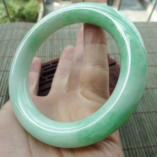 糯种满绿圆条57圈翡翠手镯