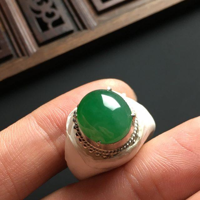 冰种满色 缅甸天然翡翠戒指  铜托