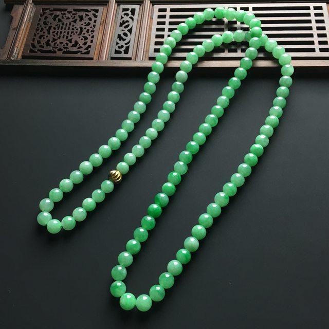 阳绿天然翡翠项链 直径7毫米图4