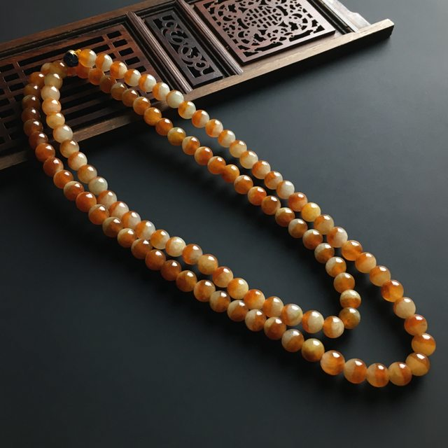 糯冰红翡佛珠项链 单颗佛珠直径6.5mm