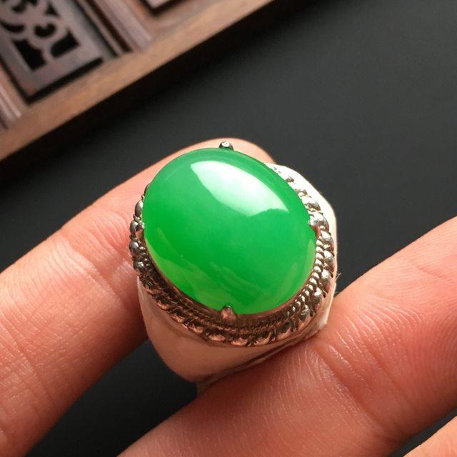19-15-6寸冰种阳绿 缅甸天然翡翠戒指