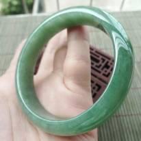 A货翡翠好种满绿正装手镯56mm