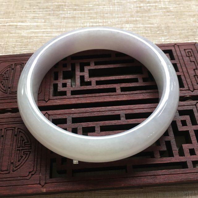 糯种淡色紫罗兰翡翠手镯  缅甸天然翡翠手镯 尺寸:56.5mm13mm7.5mm