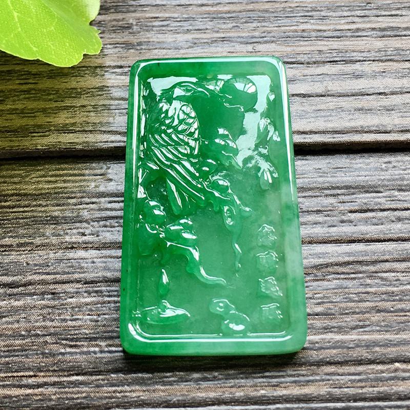 冰糯种满绿 喜上眉梢天然翡翠吊坠