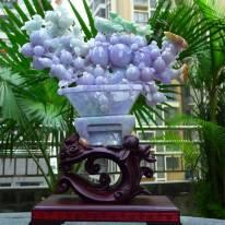 紫罗兰翡翠花篮摆件 檀木底座