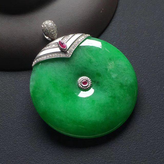 糯冰种满绿翡翠平安扣吊坠  尺寸:37-5.5毫米