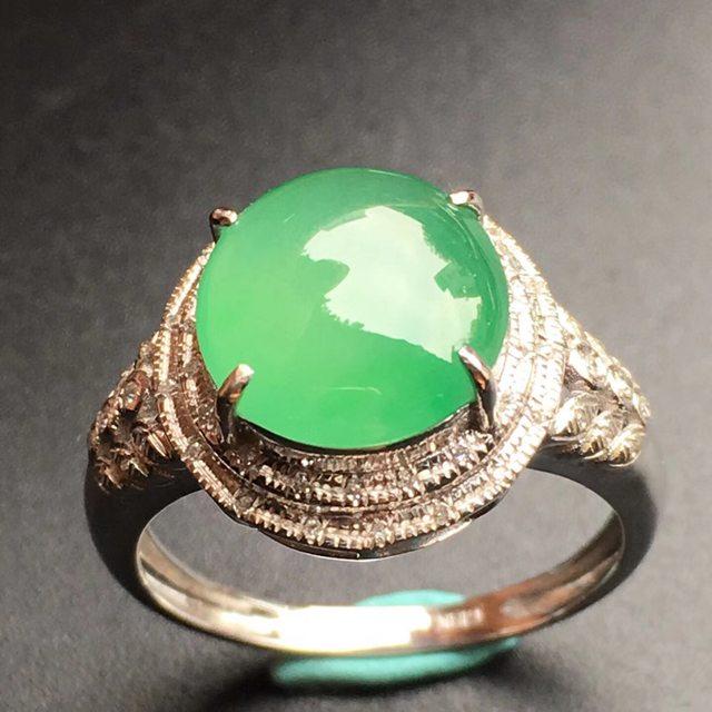 10.2*9.7*4mm冰种满绿 缅甸天然翡翠戒指