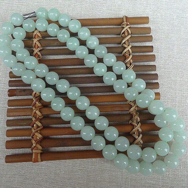 老坑料浅绿水润圆珠项链 规格10.5mm*68颗