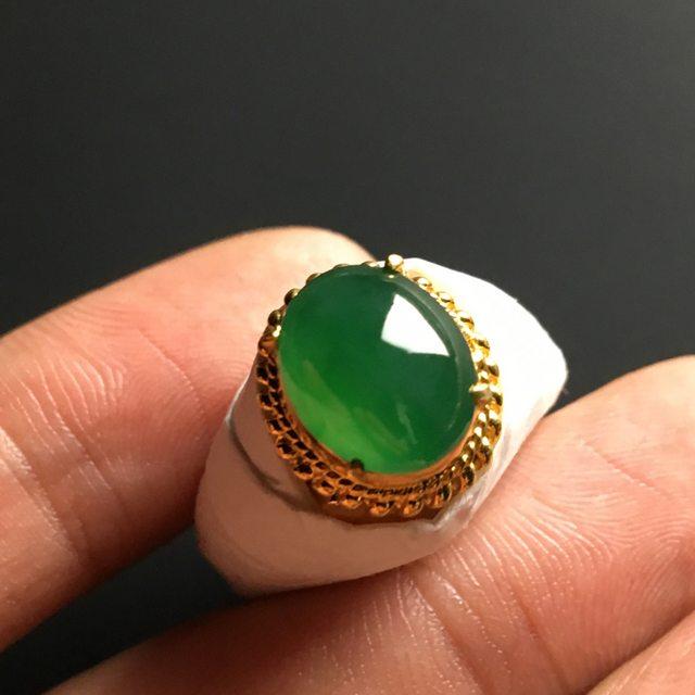 11-9-5mm冰种阳绿 翡翠戒指