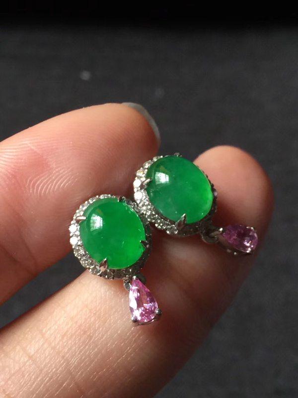 玻璃种正阳绿 翡翠耳钉7.56.54mm