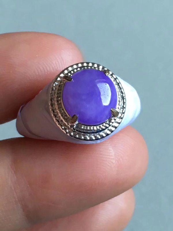 老坑冰种 紫罗兰 缅甸天然翡翠铜托戒指