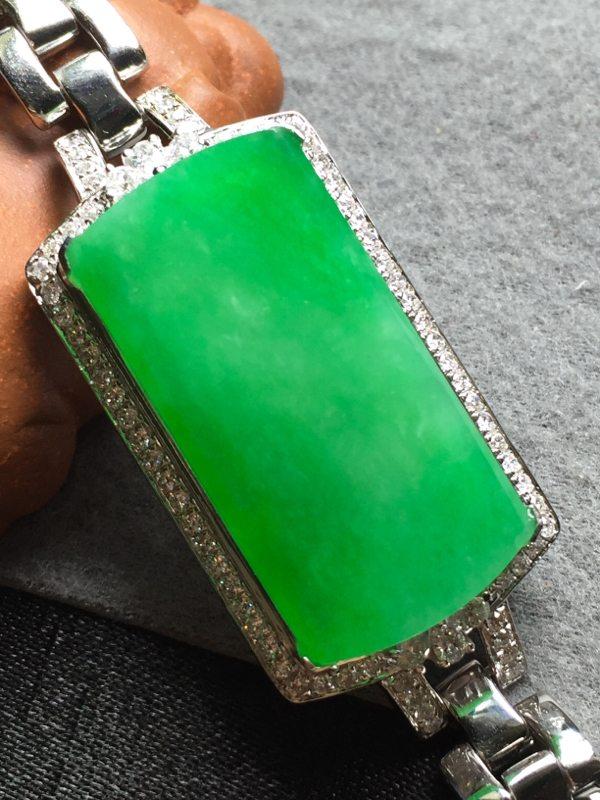 冰阳绿天然翡翠手链 29*14.8*5