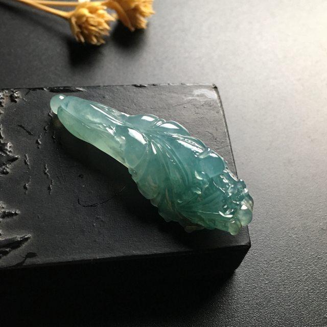 冰种蓝水百财翡翠吊坠 尺寸44-16-13毫米