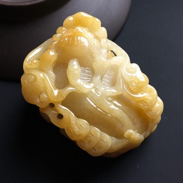 黄翡招财貔貅 翡翠吊坠 尺寸51-35-23毫米