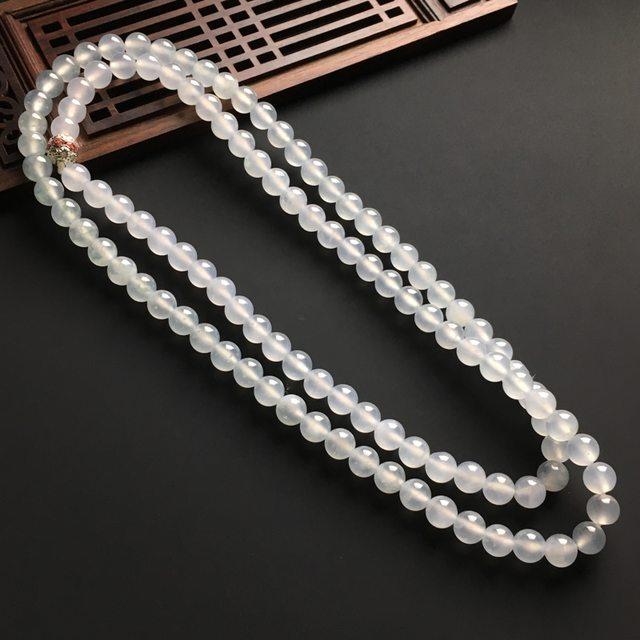 冰种天然翡翠佛珠项链 直径8毫米