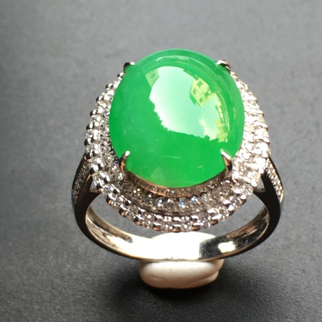 13.9*11.34.1寸正阳绿蛋面 翡翠戒指