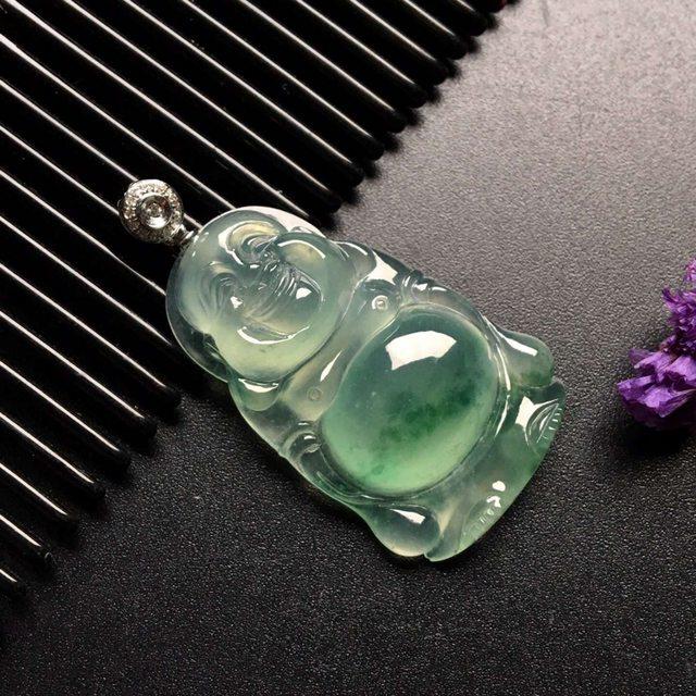 冰种飘绿花站佛 翡翠吊坠 尺寸: 33-21-7mm