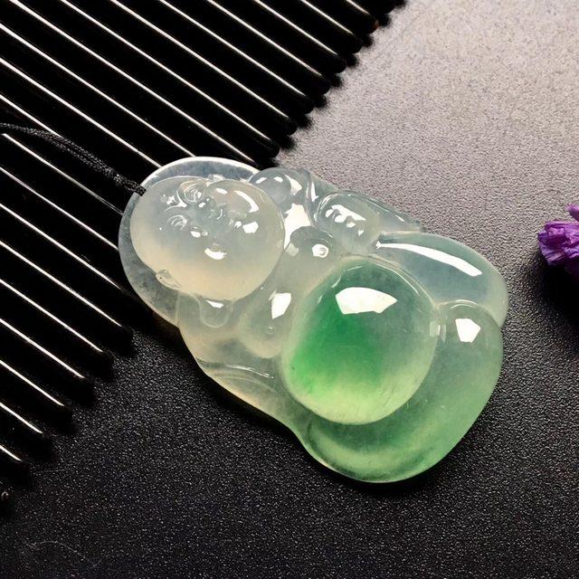 冰种飘绿布袋佛 翡翠吊坠 尺寸: 39-26-10mm